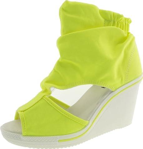 Maxstar Wrinkledd Canvas Side Open Toe Wedge Heel Ankle Sandals Green UK Women 5