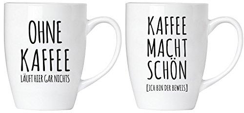 """BRUBAKER """"Ohne Kaffee läuft hier gar nichts! Kaffee macht schön"""" Tassen Set aus Keramik – Grußkarte und Geschenkpackung"""