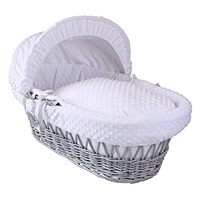Dimple Grey Wicker Moses Basket - White