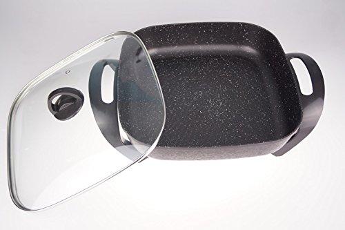 (30x30 cm - ca. 6cm tief - schwarz/wg) Partypfanne Bratfläche Aluminium-Guss (ganzer Pfannenkörper - kein aufgesetztes Brat-Blech)/ Antihaft-Beschichtung/ 1500 Watt 100-240°C ()