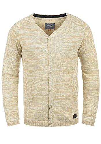 Blend Samuel Herren Strickjacke Cardigan Feinstrick Mit V-Ausschnitt und Knopfleiste Aus 100% Baumwolle, Größe:XL, Farbe:Birch (70023)