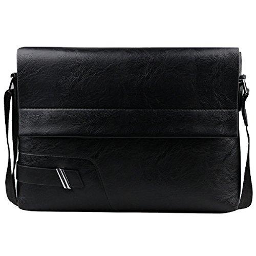 Yy.f Schulterbeutel Der Männer Das Neue Retro Männliches Paket Diagonal Paket Herren- Ledertaschen Taschen Feste Farbe Farbe 2 Black