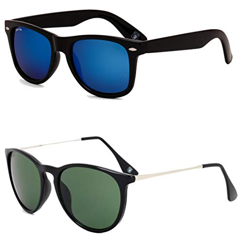 Royal Son Blue Mirrored Wayfarer and Green Round Women Sunglasses Combo