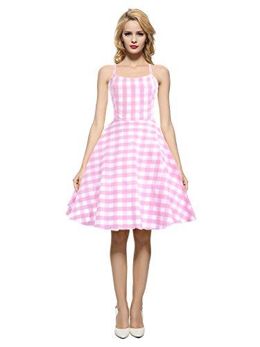 Maggie Tang Damen 1950er 60er Jahre Vintage Rockabilly Casual Partykleid - Pink - XX-Large