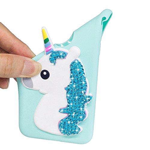 iphone 7 Hülle, iphone 8 Schutzhülle Unicorn, Ultra Dünn TPU Weich Silikon Handy Hülle für iphone 7 / 8 (4,7 Zoll), 3D Pferd Aussehen Blau Einfarbig Muster Design Handycover Schale Schutzhülle Ultradü Blau