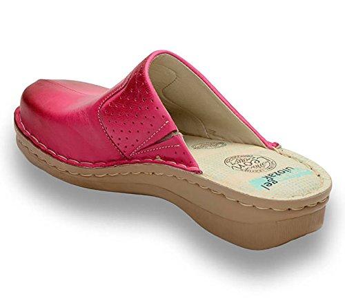 LEON 360 Sabots Mules Chaussons Chaussures en Cuir Femme Dames Rose