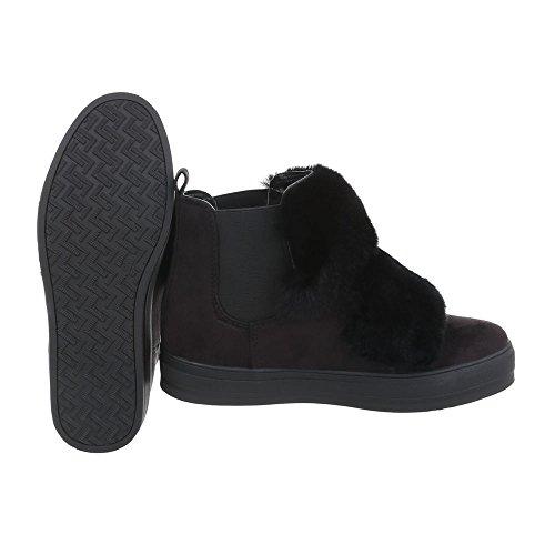 Sneakers High Damenschuhe Sneakers High Moderne Ital-Design Freizeitschuhe Schwarz