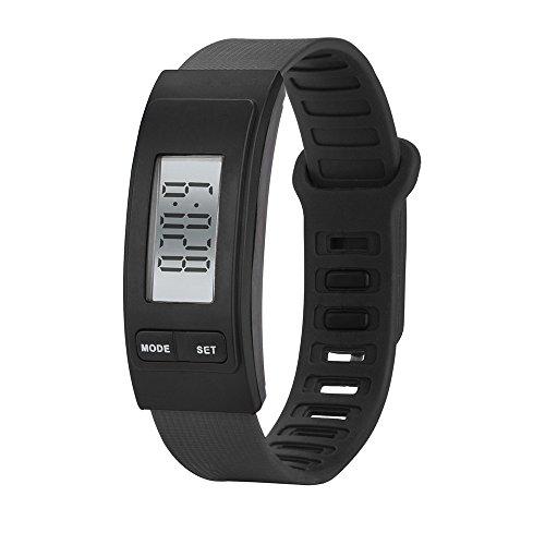 IG-Invictus Laufen Sie Schritt Uhr Armband Schrittzähler Kalorienzähler Digital LCD Gehweg Pedometer Elektronische Uhr HZ-72 Schwarz