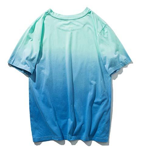 Allmähliche Farbe Kurzarm Komfortable Hemden Top(X-Large,Gelb) ()