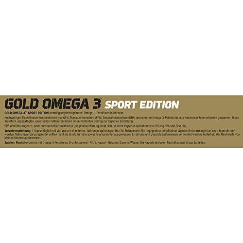 Olimp Gold Omega 3 Sport Edition Nahrungsergänzungsmittel mit Fettsäuren und Vitamin E - Verpackung mit 120 Kapseln - für Herz, Kreislauf und Sehkraft