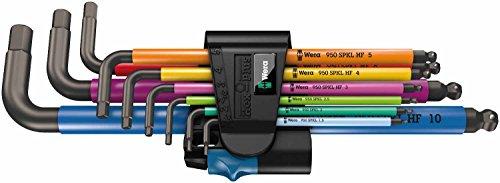 Wera 950 SPKL/9 SM HF Multicolour Winkelschlüsselsatz, metrisch, BlackLaser mit Haltefunktion, 9 Stück, 05022210001 (9 Stück Bad)