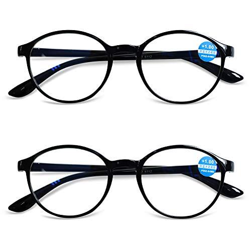 KOOSUFA Lesebrille Damen Herren Anti-Blaulicht Computer Klar Brillen Runde Hornbrille Mit Stärke Schwarz Leopard 1.0 1.5 2.0 2.5 3.0 3.5 4.0 (2.0, 2 x Schwarz)