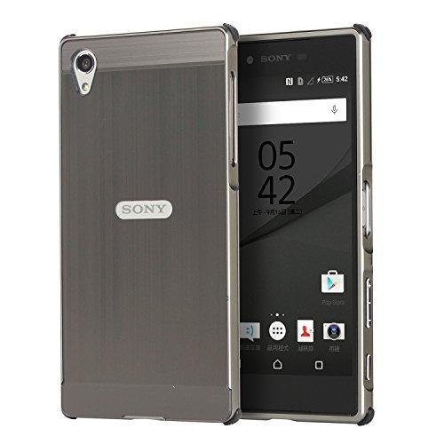 HICASER Luxus Chrom Bumper Hülle für Sony Xperia Z5 Case Ultra Slim Brushed Metall Aluminium + Kunststoff Handytasche Schutzhülle protective Cover Grau