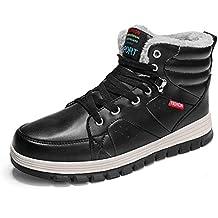 4b82a8e3ec4ed Laiwodun Hombres Zapatillas Nieve botas de piel de cuero cálido forrado no  deslizamiento Casual Botas al
