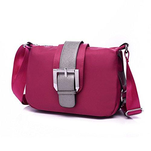 Damen Nylon Freizeit Wasserdicht All-Match Mode Licht Geneigter Schulterbeutel Taschen Pink