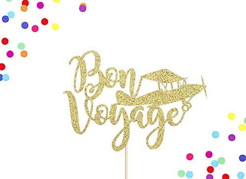 Bon Voyage Cake Topper | Goodbye Cake Topper | Travel Cake Topper | Bon Voyage Party Decor | Airplane | Retirement | Farewell Party Decor