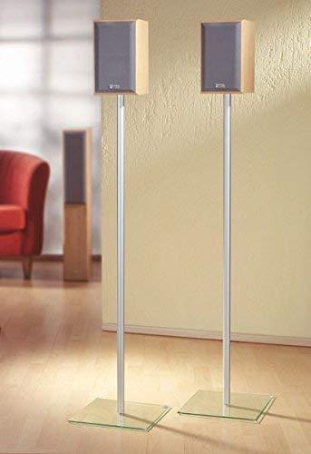 """VCM 2x Surroundstand Stand Alu Halterung Glas Standfuss Boxenständer Lautsprecher Ständer klarglas  """"Sulivo Maxi"""""""