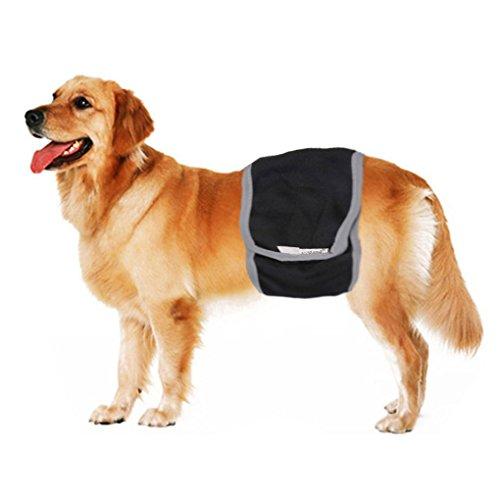 BXT Männlichen Hunde Physiologische Hosen Hundewindeln Hundschutzhose Waschbar (Schwarz)