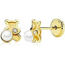 Pendientes bebé niña oso osito perlas y circonitas oro amarillo 18k 5,5x5 mm rosca
