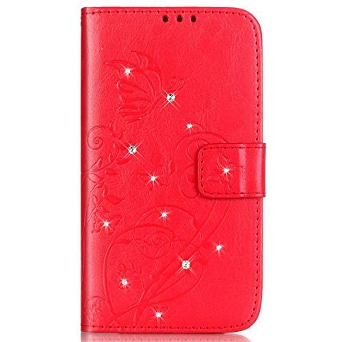 Surakey Cover Samsung Galaxy A5 2016 Pelle, Custodia Flip a Libro per Samsung Galaxy A5 2016 Glitter Strass Brillante Farfalla Portafoglio Magnetica Cover con Porta Carte e Funzione Stand,Rosso