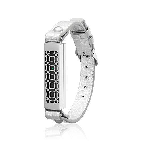 fitjewels für Fitbit Flex 2 - Schmuck - Armband Hyde 2 - Edelstahl und echtes Leder - Flex 2 Ersatzband Silber-Silber