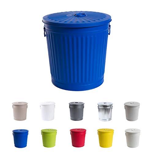 Home&Decorations Abfalleimer Mülleimer Vintage Wäschebehälter Deckeleimer Mülltonne mit Tragegriffen (Ø 29 cm, Höhe 31,5 cm, Blau) (Blau Hoch Mülltonne)