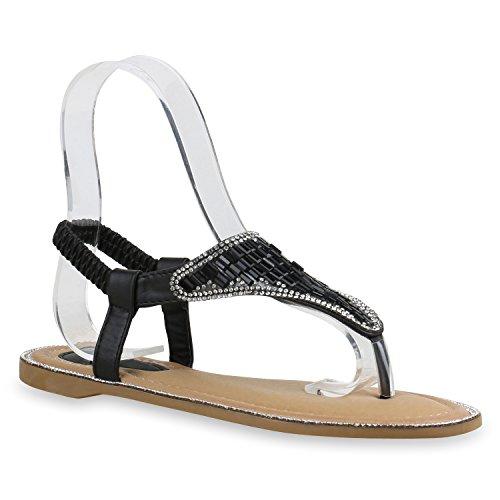 Damen Sandalen Zehentrenner Metallic Strass Flats Schuhe Schwarz Glanz