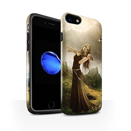 Officiel Elena Dudina Coque / Brillant Robuste Antichoc Etui pour Apple iPhone 7 / Violoncelle/Nuages Design / Réconfort Musique Collection Chanson de Fleurs