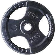 Skyland Rubber Gym Weight Plate, EM-9264 - 20 Kgs (Black)