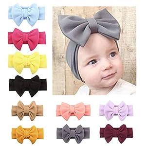 BeautyTop Baby Mädchen Schicke Bowknot Prinzessin Haarband Einfarbig Elastisch Stirnband Fotoshooting Kopfbedeckungen Kleinkinder Taufe Haarschmuck Schöne Bogen Haarreife Kopfband