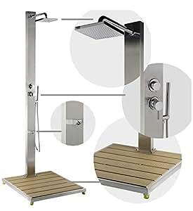 dusche steel design dusche au enbeleuchtung aus edelstahl komplett mit duschtasse. Black Bedroom Furniture Sets. Home Design Ideas