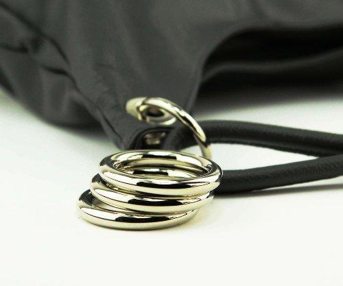 OBC Made in Italy Damen Echt Leder Shopper Tasche Ledertasche Beuteltasche Abendtasche Handtasche Henkeltasche Schultertasche (Schwarz) Schwarz