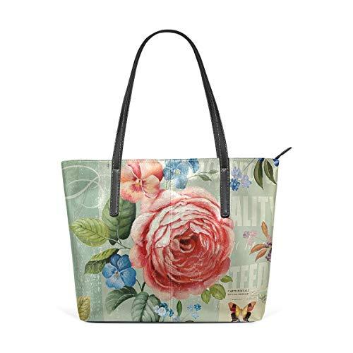 XGBags Custom Borsa a tracolla in pelle PU da donna European Style Retro Flower Womens Purse PU Leather Shoulder Tote Bag