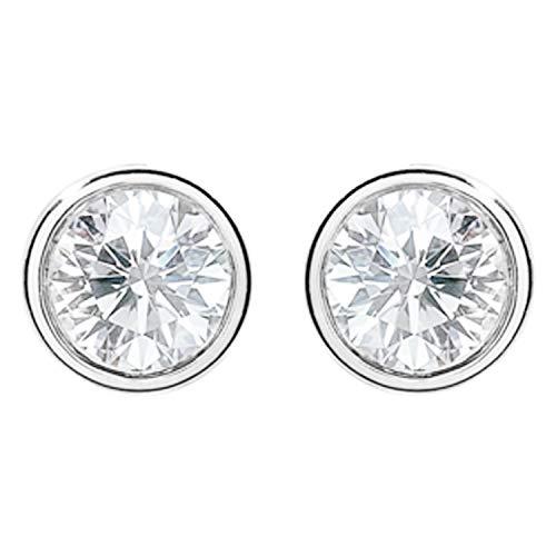 LÖB Damen Ohrstecker 925 Silber rhodiniert mit Zirkonia Strass Stein Stecker Ohrringe Rund Klein Weiß 7mm (Ohrringe Strass Kleine)