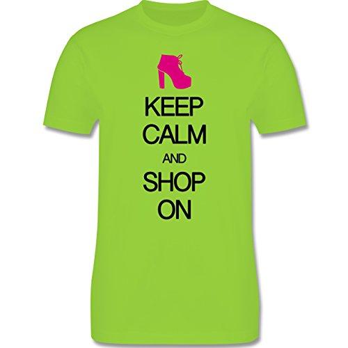 Keep calm - Keep calm and shop on - Herren Premium T-Shirt Hellgrün