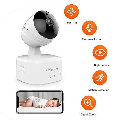 bec797e8660 1080P Camara Vigilancia Bebé Inalámbrico, Cámara IP WiFi con Visión  Nocturna, Detección de Movimiento