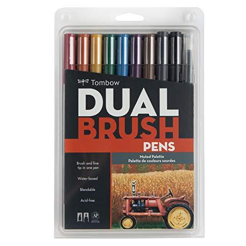 Tombow Muted Dual Brush Marker, Confezione da 10