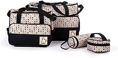 Ceiceili Set 5 kits Bolsa de Mama Para Bebe Biberon Bolso/Bolsa/Bolsillo Maternal Bebé para carro carrito biberón colchoneta comida pañal de color Roja