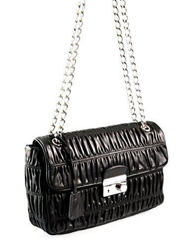 Prada , Damen Tote-Tasche Schwarz schwarz (Tote Tasche Prada Leder)