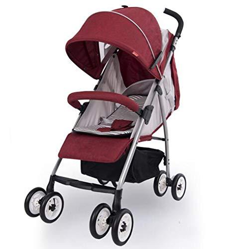 Wp.bewa Baby Kinderwagen Buggy Klappbarer Verstellbarer Tragbarer Leichter Reisewagen Leichter Kompakter Kinderwagen Für 0-36 Monate,0-3 Jahre,Neugeborene Jungen Mädchen(Blau, Rot),A