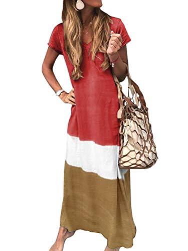 Minetom Sommerkleider Damen Kurzarm Kleider Casual Loose V-Ausschnitt Strandkleider Farblock Boho Maxikleider Böhmen Baumwolle Leinen Kleid A Rot DE 48 - Chiffon Heels Red