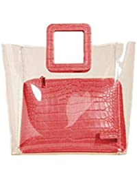 JIMPLEI Transparent Handbag With Square Handle, 2 In 1 Tote Handbag