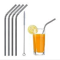 Zollyss Reusable Stainless Steel Drinking Straws (4 Bend Straws, 1 Brush)