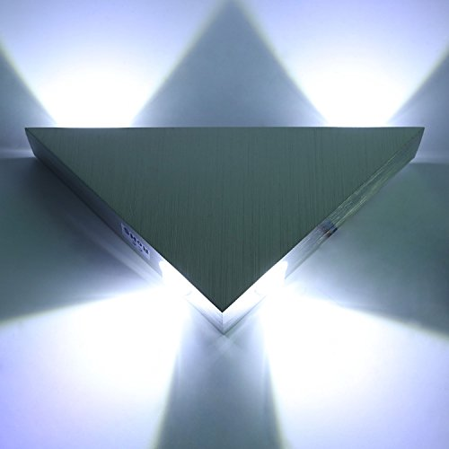 dleuchte Innen Modern Wanlampe Flurlampe Wand Leuchte Up and Down Kaltweiß aus Aluminium Dreieck Silber für Wohnzimmer Schlafzimmer Treppenhaus Flur Küche Hotel usw. (Up-leuchten)