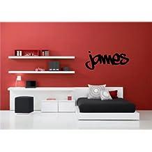 Vinilo con Nombre para la pared, diseño de graffiti personalizado, 57x 20cm