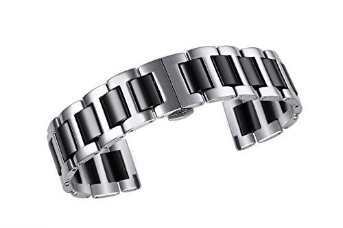 22mm Luxus zwei Ton Keramik Armband für Uhren der Männer feste 316l Edelstahl in silber und schwarz