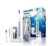 Philips Sonicare FlexCare Platinum Elektrische Zahnbürste HX9172/15 - Schallzahnbürste mit UV-Reinigungsstation, 2 Bürstenköpfen, Drucksensor, 3 Programmen, 3 Intensitäten, Timer & Etui – Weiß