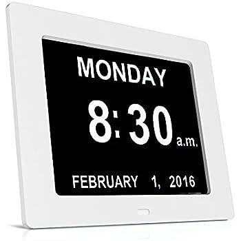 HeQiao Day Clock Dementia Clock Digital Clock Day Date Calendar Clocks for Dementia Sufferers, Alzheimer Clock, Memory Loss Clock Electronic Calendars, Large Digital Wall Clock for Elderly - White