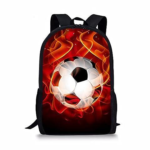 Coloranimal Cool 3D Fire Football Print Backpack Children Soccer School Bags