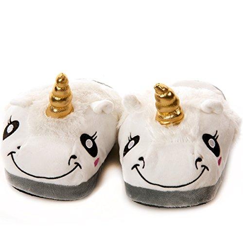 Preisvergleich Produktbild MC TREND® Einhorn-Haus-Schuhe-Pantoffeln-Pantoffel für Kinder von der Größe 30-35 Kuschelig-süß-warm (34-35)